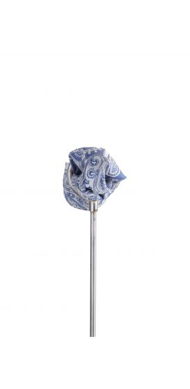Royal blue silver paisley wedding pocket square