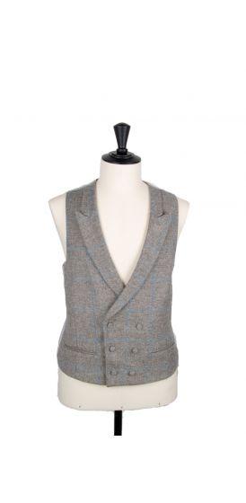 blue check tweed wedding waistcoat