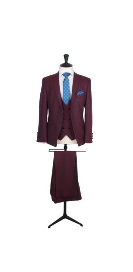 burgundy tweed suit hire