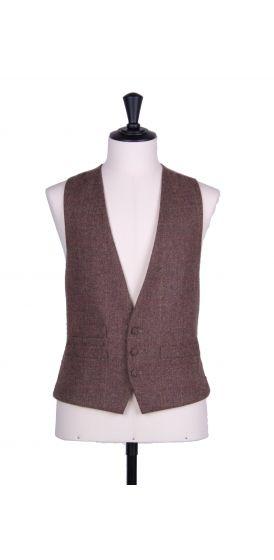 Brown tweed wedding waistcoat 3 button