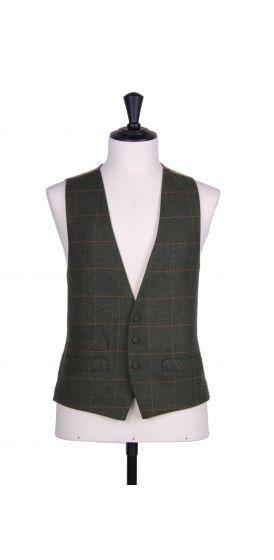 Green tweed 3 button classic wedding waistcoat