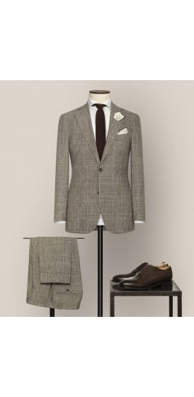 Luxe brown and white wool linen with fine glencheck suit made to measure