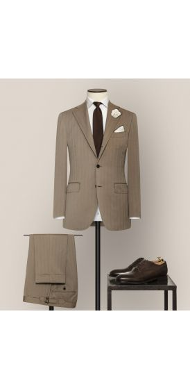 Luxe taupe S130 wool pinpoint herringbone suit made to measure