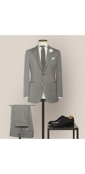 Luxe grey and ivory S130 wool pinpoint herringbone suit made to measure