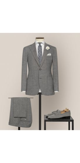 Luxe mid grey stretch wool linen blend suit made to measure