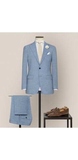 Luxe light blue stretch wool linen blend suit made to measure