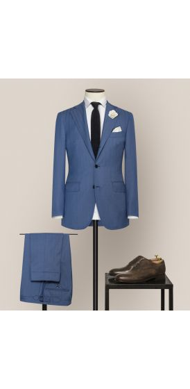 Luxe blue S130 wool pinpoint herringbone suit made to measure