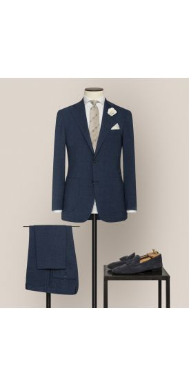 Luxe dark blue stretch wool linen blend suit made to measure