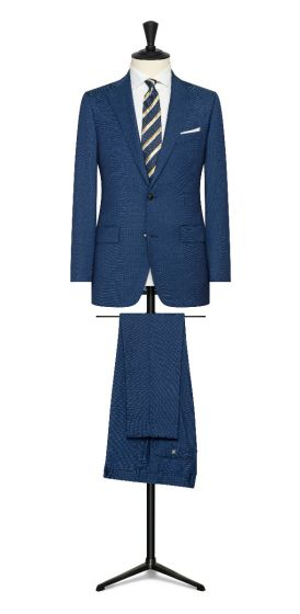 Royal blue micro dot wool suit made to measure