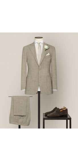 Luxe sand stretch wool linen blend suit made to measure