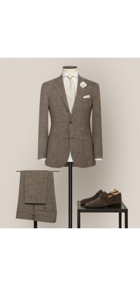 Luxe dark taupe stretch wool linen blend suit made to measure