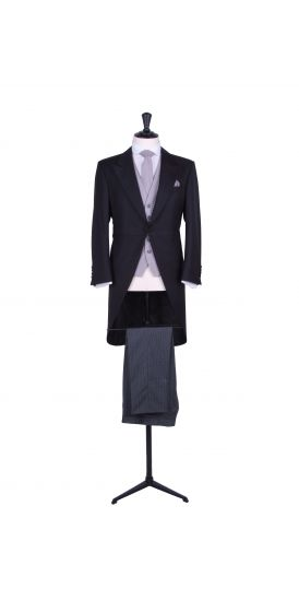 Slim fit black tailcoat with stripe trousers to hire.