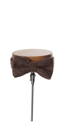 English tweed coffee check wedding bow tie