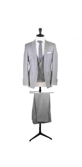 silver grey slim fit grooms wedding suit