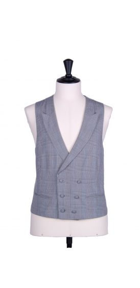 Prince of Wales double breasted classic grey wedding waistcoat