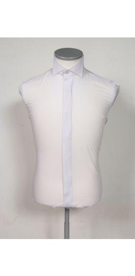 French wing collar white wedding shirt