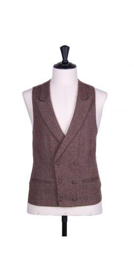 Brown tweed wedding waistcoat DB
