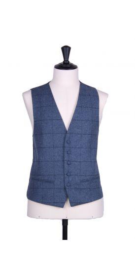Blue tweed sb wedding waistcoat