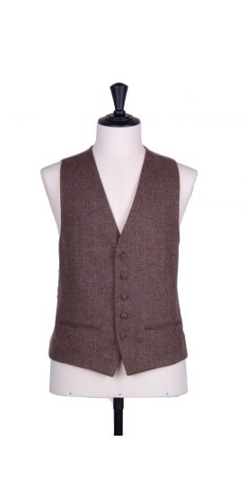 Brown tweed sb wedding waistcoat