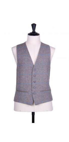 Tweed grey & blue check wedding waistcoat SB
