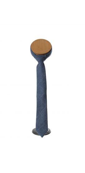 blue and grey check tweed wedding tie