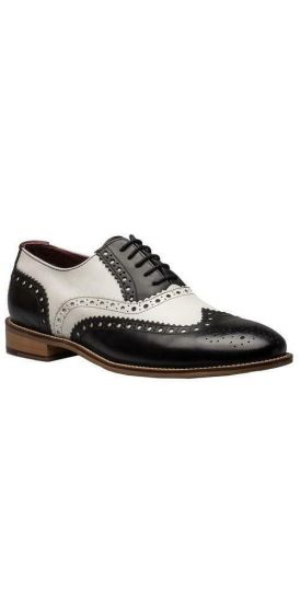Gatsby black and white brogue shoes