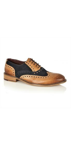 Gatsby tan and navy suede brogue shoes