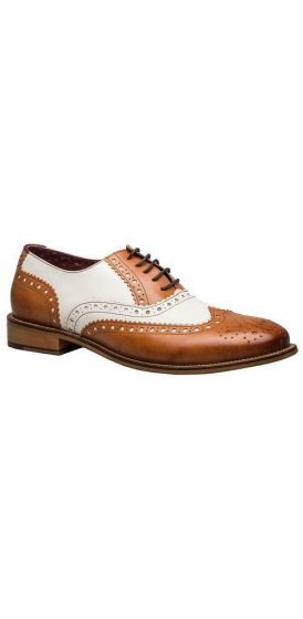Gatsby tan and white brogue shoes