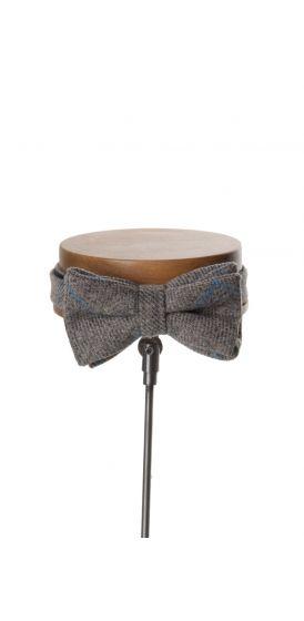English tweed light grey & blue check wedding bow tie