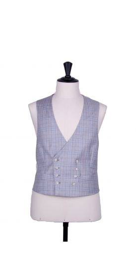 Grey check double breasted waistcoat made to measure groom wedding
