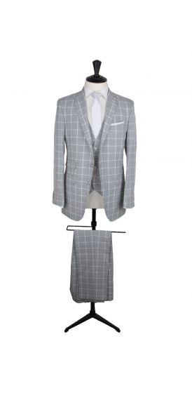 Grey windowpane check custom made wedding suit