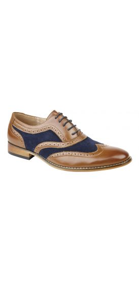 Tan and navy 2 tone brogue shoes