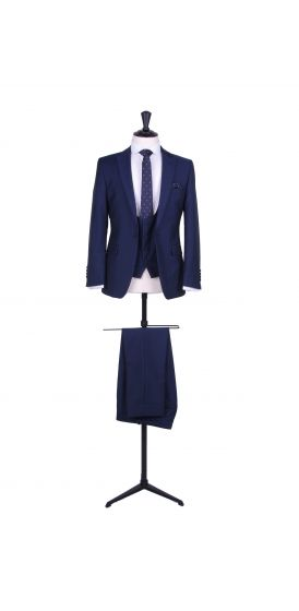 Slim fit royal blue wedding suit hire