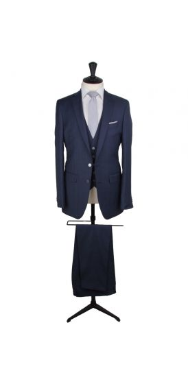 Navy glencheck pure wool custom made wedding suit