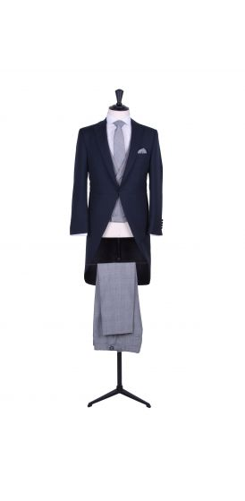 Navy slim fit tailcoat with Prince of Wales trousers to hire.