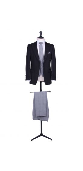 Slim fit black wedding lounge suit with Prince of Wales trousers to hire