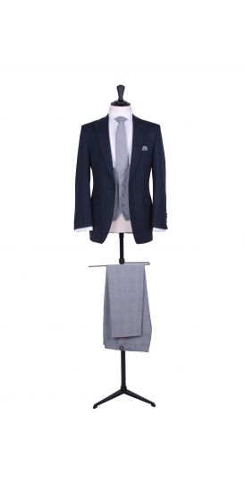 Slim fit navy hire suit with Prince of Wales trousers