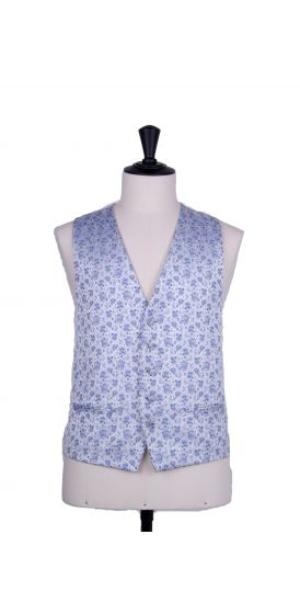 Royal blue wedding waistcoat floral