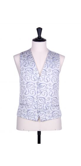 swirl royal blue wedding waistcoat