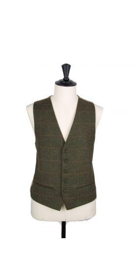 Tweed green & gold check wedding waistcoat