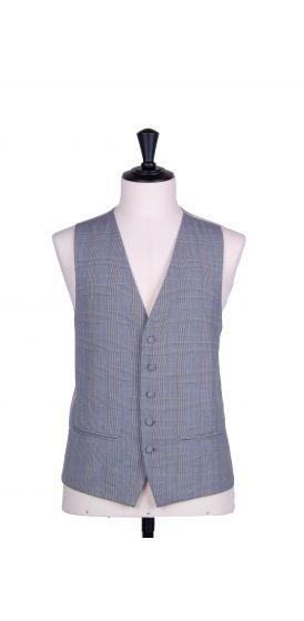 Prince of wales grey single breasted classic wedding waistcoat