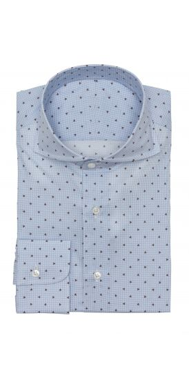 light blue houndstooth with print Shirt
