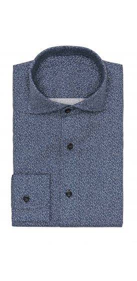 Dark blue twill micro floral print shirt