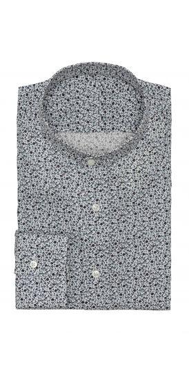 white twill micro floral print shirt