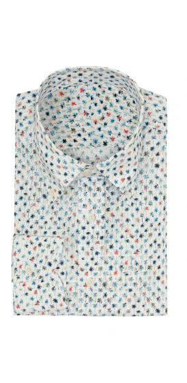 White cotton with mini palm tree print shirt made to measure