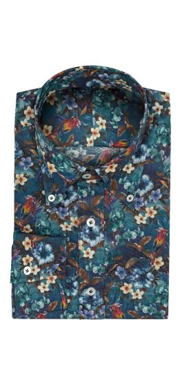 Dark turquoise with parrot and flower print shirt made to measure