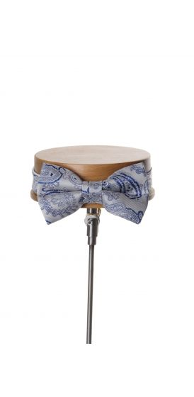 Come together silver with royal blue paisley wedding bow tie