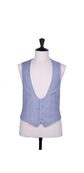 Sky blue check horseshoe waistcoat made to measure groom wedding