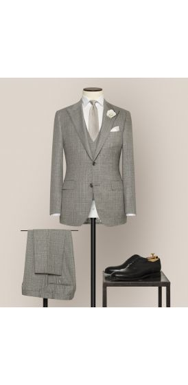 Luxe grey and white fancy weave suit made to measure