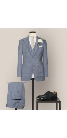 Luxe blue and white fancy weave suit made to measure